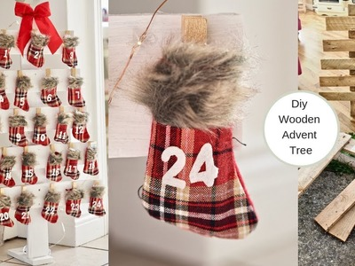 DIY Christmas tree advent calendar from palette wood
