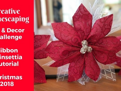 DIY & Decor Challenge with Ribbon Poinsettia Tutorial    Christmas 2018    Hosted by The DIY Mommy