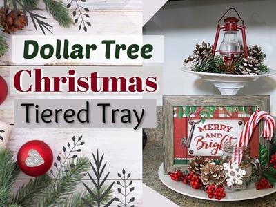 DIY Dollar Tree Christmas Tiered Tray | Dollar Tree Christmas DIY | Krafts by Katelyn