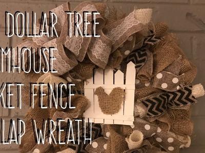 DIY Dollar Tree  Farmhouse  Picket Fence  Burlap Wreath