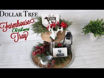 DIY Dollar Tree faux wood Farmhouse Tiered Tray   Christmas Decor