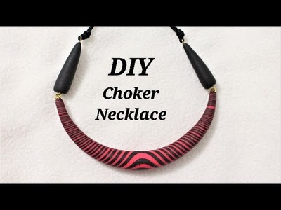 DIY   Easy To Make Torpedo Bead Choker Necklace With Polymer Clay   Jewelry Making Tutorial
