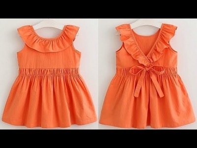 DIY Ruffled Neck Baby Frock Cutting And Stitching Full Tutorial