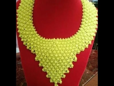 DIY tutorial on how to make this beautiful beaded yellow necklace