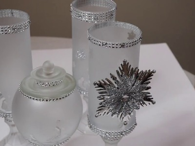 DOLLAR TREE CHRISTMAS DECOR 2018 - FROSTED GLASS APOTHECARY JARS