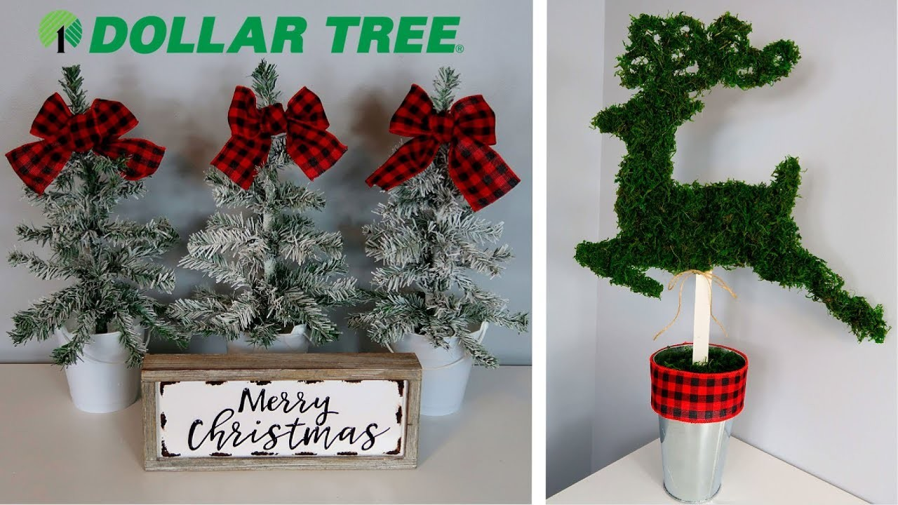 DOLLAR TREE CHRISTMAS DIYs | RUSTIC FLOCKED TREES & REINDEER TOPIARY | CHIC ON THE CHEAP