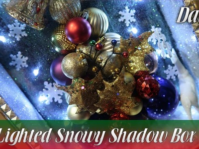 Dollar Tree DIY | 3-Dimentional Lighted Snowy Shadow Box | How To