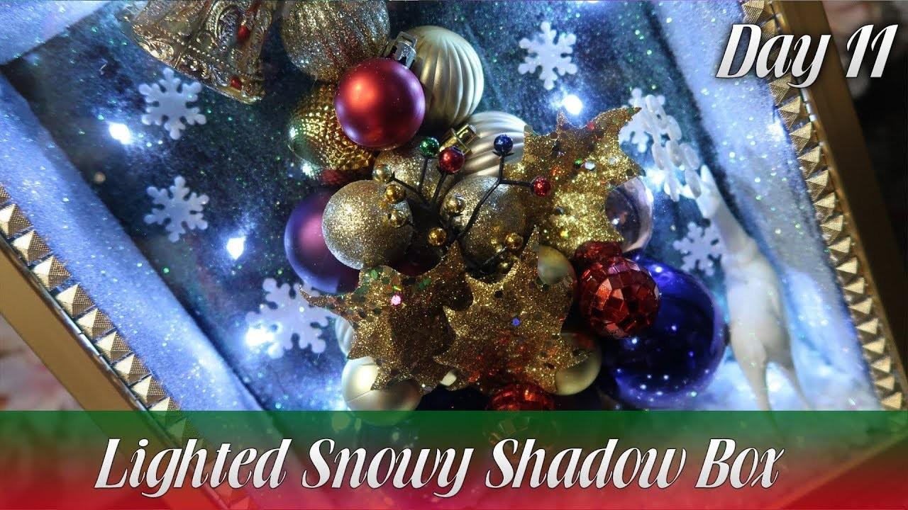 Dollar Tree DIY | 3-Dimentional Lighted Snowy Shadow Box | How To