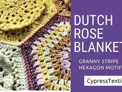 Dutch Rose Blanket CAL Part 3 - Motif 3 - Full Granny Hexagon Motif - CypressTextiles