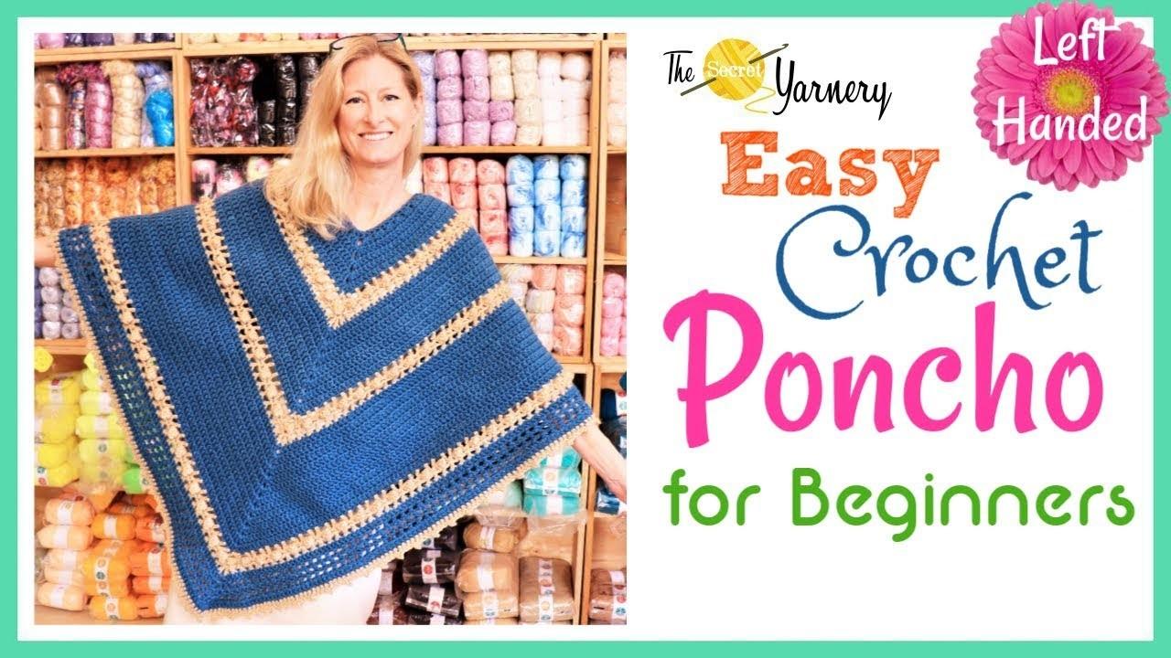 Easy Crochet  Popcorn Poncho for Beginners - LEFT HANDED