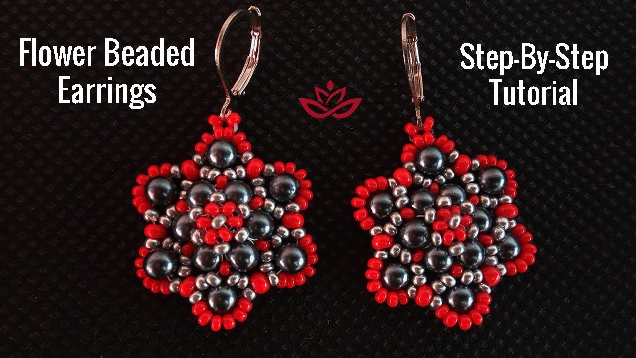 Flower Earrings with Pearls and Seed Beads - Tutorial
