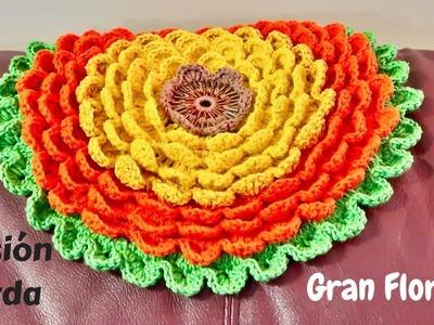 Gran Flor (Blooming flower) a crochet paso a paso (Versión Zurda)