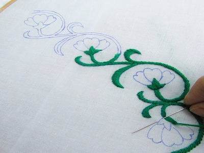 Hand Embroidery; Beautiful Border Line Design; Bullion Knot Stitch