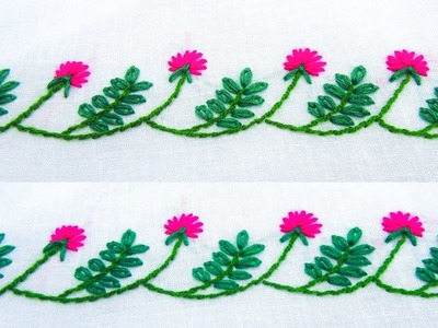 Hand Embroidery; Border line design; Lazy daisy.Flower stitch