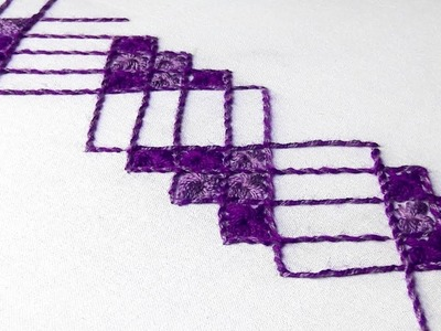 Hand Embroidery : chicken stitch  border design for saree.