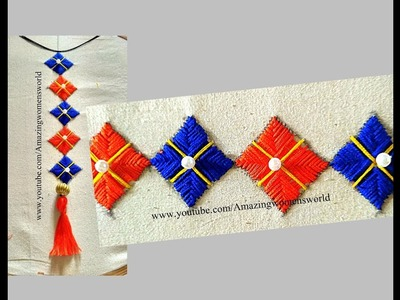 Hand  Embroidery Filling Border Design #10 -  Office .  Daily wear - Hand Stitches