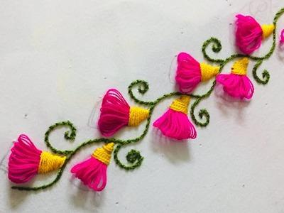 Hand Embroidery l borderline embroidery design by nakshi design art.