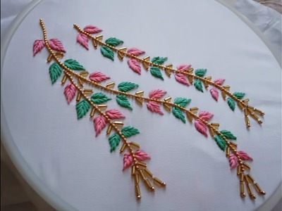 Hand embroidery. Neck line hand embroidery design for kurties and dresses.