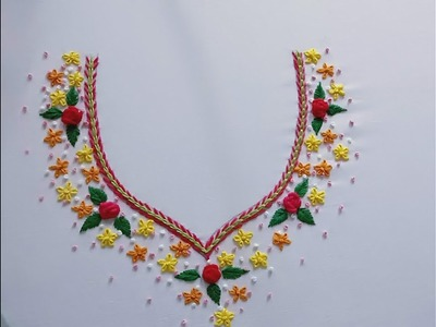 Hand embroidery. Neck line embroidery design.
