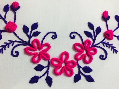 Hand Embroidery neckline embroidery design by nakshi design art.