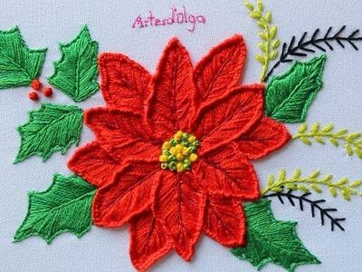 Hand Embroidery: Poinsettia flower   Bordado a mano: Flor de Nochebuena   Artesd'Olga