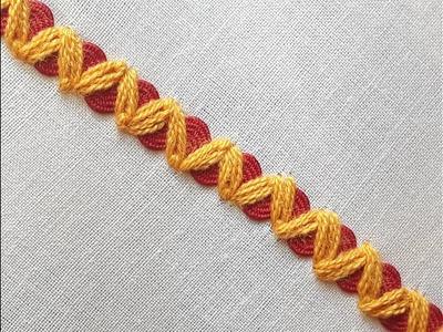 Hand Embroidery Rick rack chain stitch | Rick Rack stitch tutorial