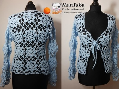 How to crochet elegant blue jacket cardigan free tutorial by marifu6a