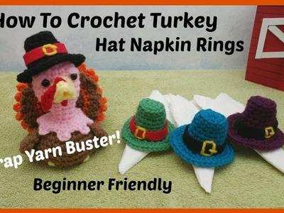 How To Crochet Turkey Hat Napkin Rings  Scrap Yarn Project Beginner Friendly