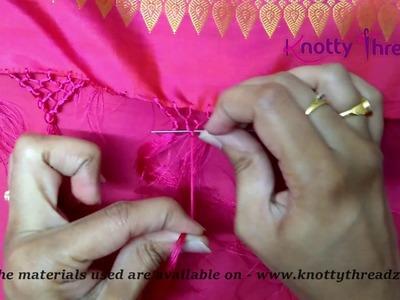 How to do Honey Comb Baby Kuchu Design on a Saree   Saree Kuchu   Tassels   www.knottythreadz.com