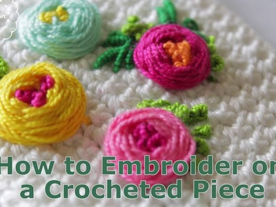 How to embroider on a crocheted piece
