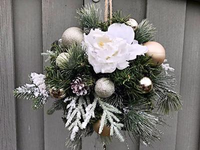 How To Make A Christmas Kissing Ball - Outdoor Christmas Decorating - Winter Wedding Decor Idea
