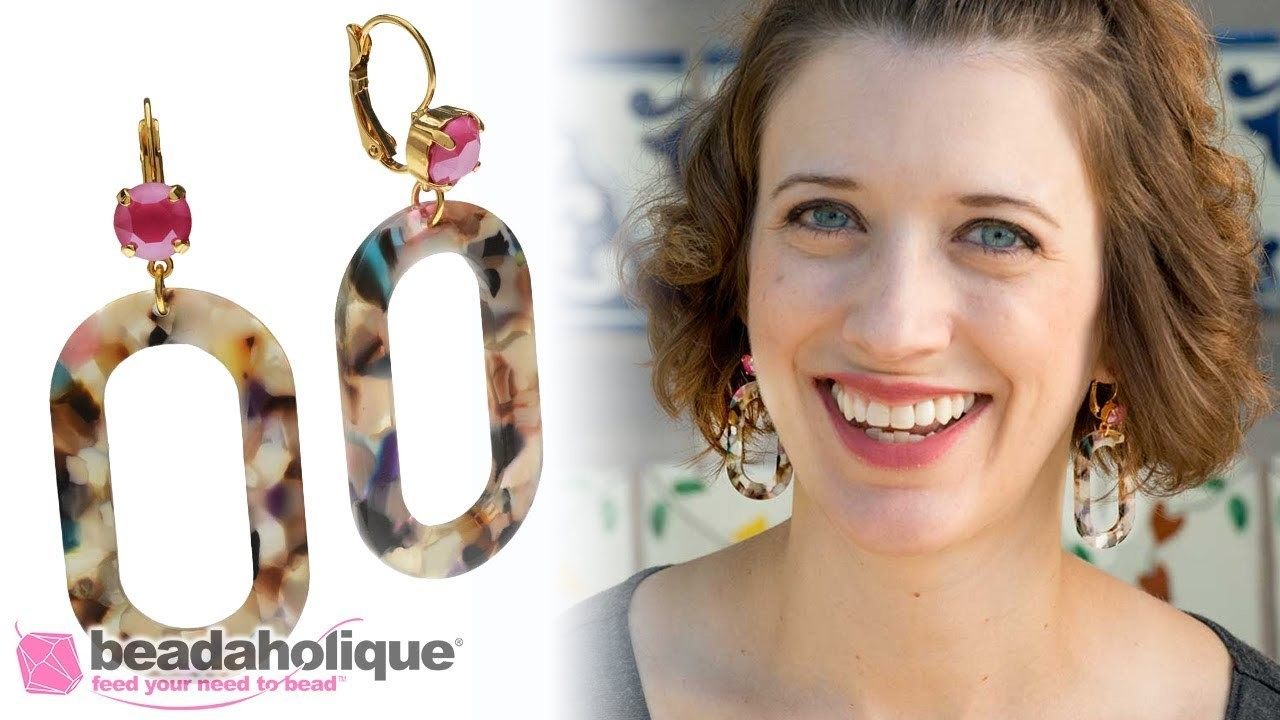 How to Make a Pair of Crystal and Colorful Resin Earrings