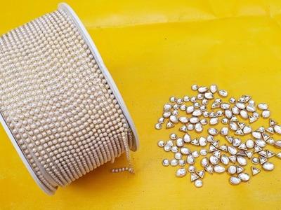 How To Make Designer Earrings At Home | DIY | Pearl Earrings | Jewelry Making | Paper Earrings