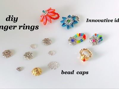 How To Make Finger Rings||Simple And Easy Handmade Rings Using Bead Caps
