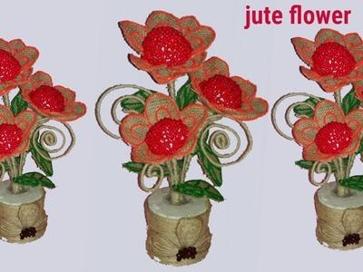 How to make jute flower ||jute craft ideas||plastic bottle craft with jute||ddustu pakhe