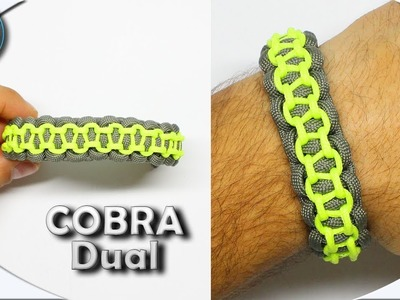 How to make Paracord bracelet Cobra Dual without buckles Easy DIY Paracord Tutorial