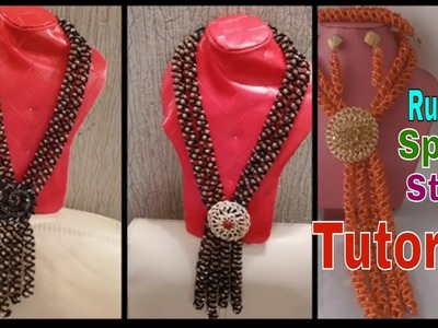 How to make Pearl Beaded spiral Necklace.Russian spiral stitch Tutorial  Using four Thread.