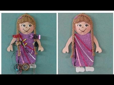 حامل.منظم توك للبنات على شكل عروسة جميلة  DIY Easy Necklace & Bracelet Holder.Room Decor