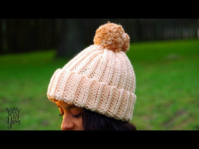 Knit-Look Crochet Hat for Beginners - FREE Crochet Pattern in 10 Sizes | Yay For Yarn