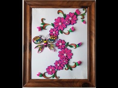 Learn to Quill Unique and Beautiful Quilled Flower Frame for Home Decor. Quilling Flower Frame