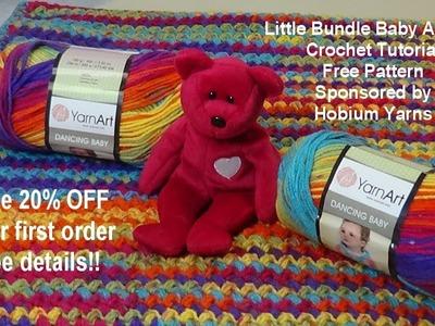 Little Bundle Baby Afghan Crochet Tutorial - Free Pattern - Sponsored by Hobium Yarns