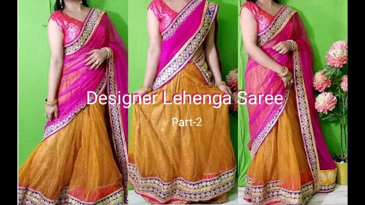Make latest bollywood style 1 minute designer lehenga saree for Haldi.Mehndi Function - Part 2