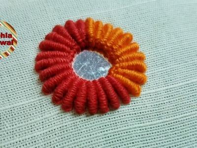 Mirror Work. Bullion knit stitch:Hand Embroidery