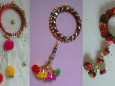 Navratri pom pom bangels|Navratri jewelry|Handmade jewelry|Navratri ornaments|How to make silk|DIY