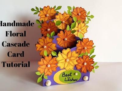 New! Handmade Greeting Card Design - Floral Cascade Card Complete Tutorial