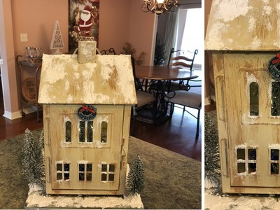 Painted Christmas House Village Lantern DIY 2018