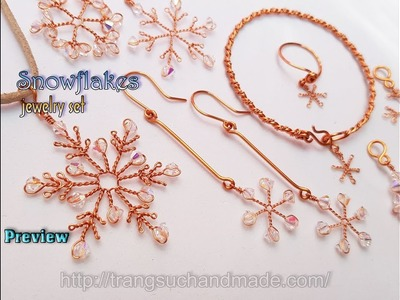 Preview Snowflakes jewelry set - Ideas for Christmas from copper wire 426