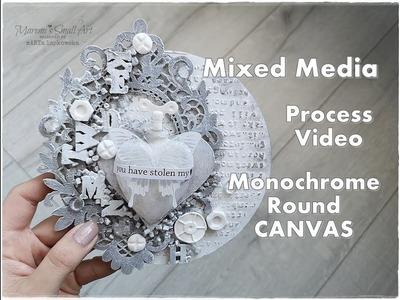 Round Monochrome Mixed Media Canvas Tutorial ♡ Maremi's Small Art ♡