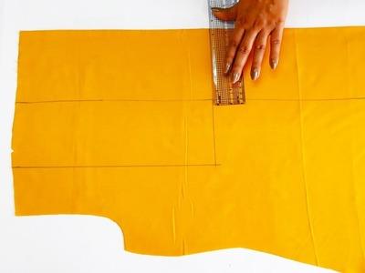 Stylish A - Line Top with Rectangle Yoke  | DIY Designer Yoke Top Cutting and Stitching