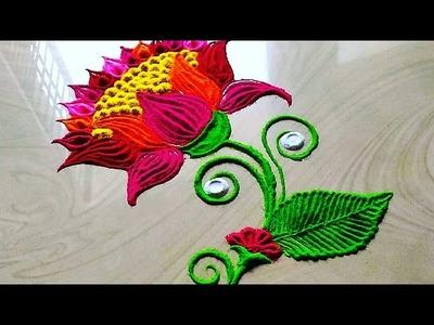 Very easy louts flowers rangoli design for lakshami FESTIVAL'S